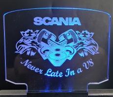 Leuchtschild groß Scania  V8 Kolben + Greif + Beleuchtung