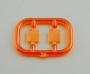 Ersatzglas orange eckig gerifffelt 7x7mm