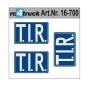 T.I.R. Schild Aufkleber weiss/blau 3 Stück
