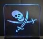 Acrylglas Totenkopf mit Säbelschwert + Beleuchtung